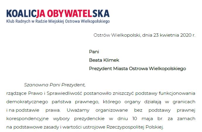 Apel wielce kłopotliwy dla Prezydent Ostrowa